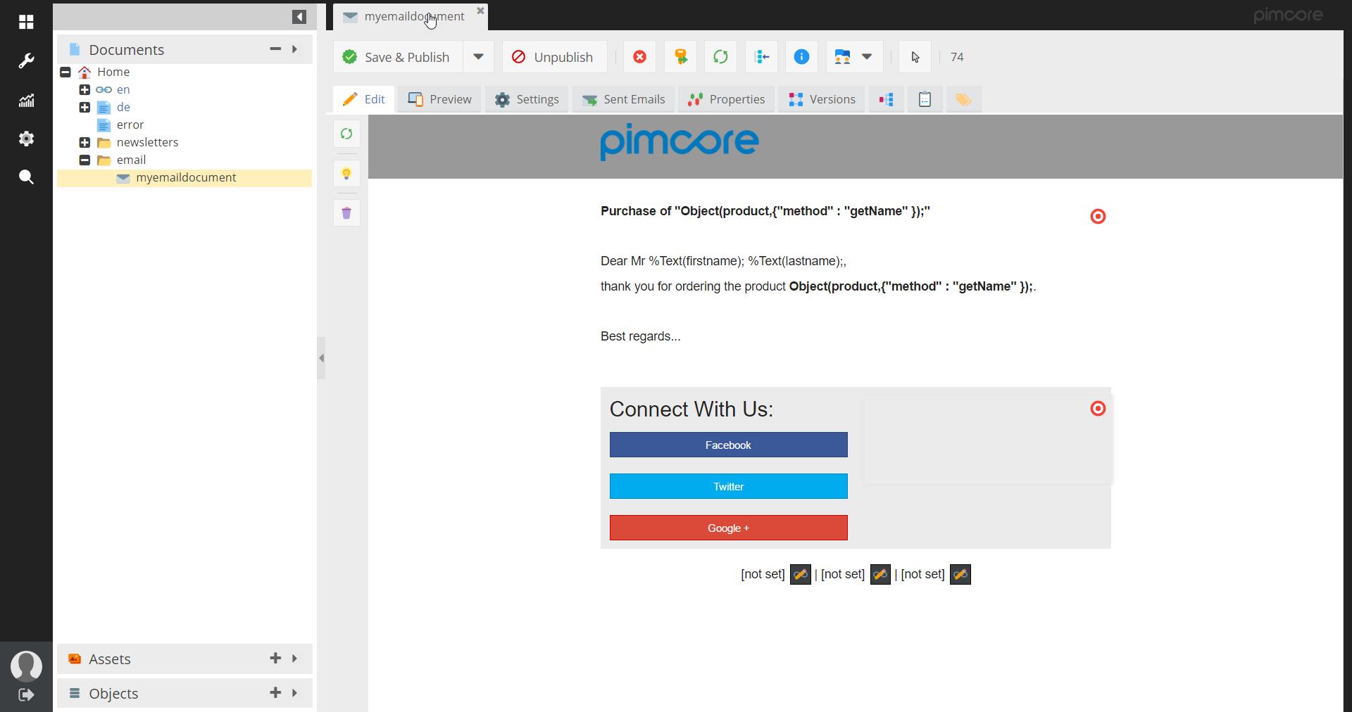 Email Framework - Pimcore