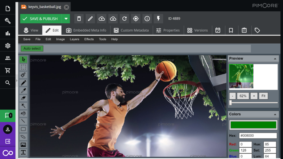 Pimcore integrates a web-based image editing component.