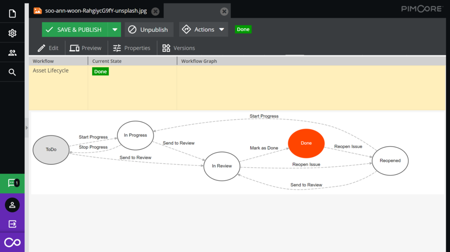 Pimcore includes an advanced workflow engine to define business processes and editorial asset management workflows.